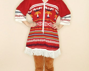 Vintage 70s Mexican Oaxacan Ethnic AZTEC Knit Fringe Poncho Tunic