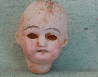Broken Doll Head Antique German Porcelain Small Bisque Doll Head