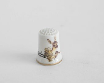 Porcelain Collectible Thimble Gorham China Norman Rockwell Deer Limited Edition Nature Friends
