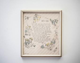 Vintage Framed Print Nursery Decor Boy or Girl 1938 The Buzza Company Children's Poem