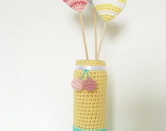 Crochet hearts on sticks, Vase decor, Wedding Heart Decor, Table Decorations, Party Decor