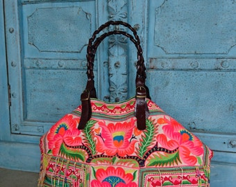 Vintage Hmong Hilltribe tote bag ethnic handmade Tribal embroidery geuine leather strap