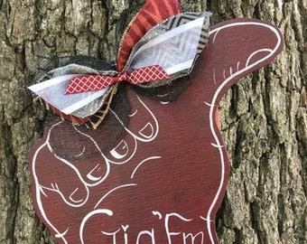 Large GigEm Aggie thumb door hanger or wreath centerpiece