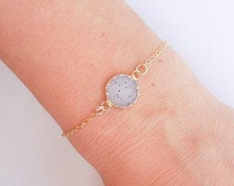 White Druzy Bracelet in Gold with Black Specks - OOAK Jewelry