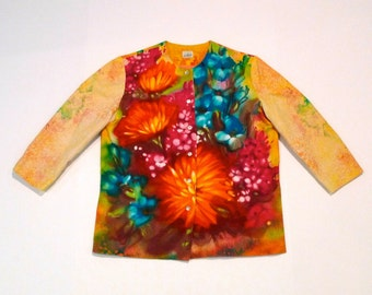Floral Top Vintage 1960s Louis Chaney of Dallas Painted Flower Blouse Printed and Splatter Paint Shirt Vibrant Jewel Tone Botanical Medium