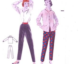 Butterick 7389 Women's 50s Tailored Shirt and Trim Slacks Sewing Pattern Bust 36