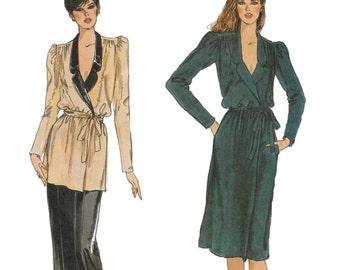Vogue 7849 Misses' 80s Wrap Dress or Top, Belt and Pants Bust 36