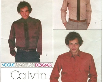 Vogue American Designer 2258 Calvin Klein Men's Shirt Sewing Pattern Chest 38 Neck 15