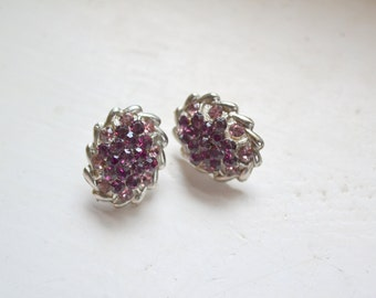 1960s Purple and Pink Oval Rhinestone Post Earrings, Signed Rom