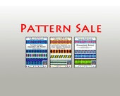 SALE / 3 Tubular Strip Piecing Quilt Patterns / Sawtooth Borders, Flying Geese and Diamond Rows