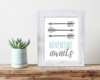 Adventure Awaits Arrow Print 5x7 8x10 11x14 Wall Art Nursery Home Decor Nursery Print Art