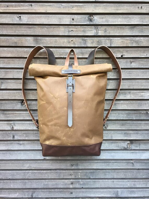 waxed canvas rucksack backpack with roll up top and leather. Black Bedroom Furniture Sets. Home Design Ideas