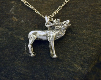 Sterling Silver Elk Pendant on Sterling Silver Chain.