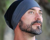 Men's Hat - Beanie - Slouchy Hat - Organic Clothing  -  Gray Black - Eco Friendly