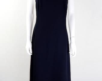 Original 1970s Vintage Black & Gold Evening Maxi Dress UK Size 10