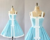 Vintage 50s Dress/ 1950s Cotton Dress/ Kerrybrooke Blue Gingham Print Cotton Dress w/ Bows S/M