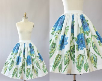 Vintage 50s Skirt/ 1950s Cotton Skirt/ Blue & Green Floral Cotton Skirt S