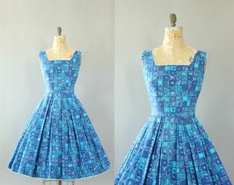 Vintage 50s Dress/ 1950s Cotton Dress/ Blue & Turquoise Geometric Print Sundress w/ Ric-Rac S