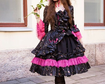 Rococo Gothic Lolita SET | Dress OP with Matching Bonnet hat | pink lace and rose embroidery marie antoinette party costume ready to ship