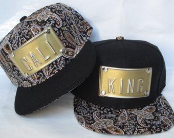 ROJAS metal paisley snapback custom hat king royalty queen slay la cali sf ny topshelf slay snapbacks hats paislies gold metal hardware
