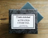 Activated Charcoal Soap - Tea Tree and Patchouli Oils Scented, Cold Process Soap for Face & Body, 100% Natural