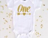 Gold Glitter One with Arrow Gerber® ONESIE® Brand Bodysuit, First Birthday Shirt, One Shirt, 1st Birthday Shirt, Girl Birthday Shirt (SH014)