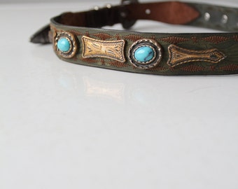 vintage western skinny belt, Italian leather high waist belt with faux turquoise