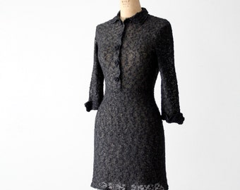 FREE SHIP  vintage 60s black knit mini dress