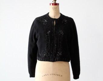 vintage beaded cardigan sweater, black angora cardi