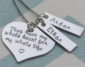 Hand Stamped Necklace They Have My Whole Heart w/ Birthstone - Personalized - Mom - Mother's Day - Wife - Girlfriend - Grandmother - Gift