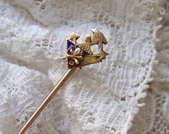 Vintage Hat Pin 14k Gold Knights of Pythias Skull and Crossbones FCB 14k Gold Lapel Pin 14k Gold Tie Stick Pin Vintage 1920s