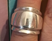 16.2 Grams Heavy STERLING SILVER  Modernist Ring Size 7.25