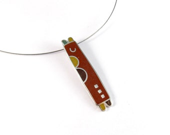 Sterling Silver Pendant, Colorful Design, Modern Contemporary Jewelry