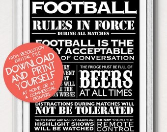 Printable Football House Rules Typographic Sports World Cup Poster