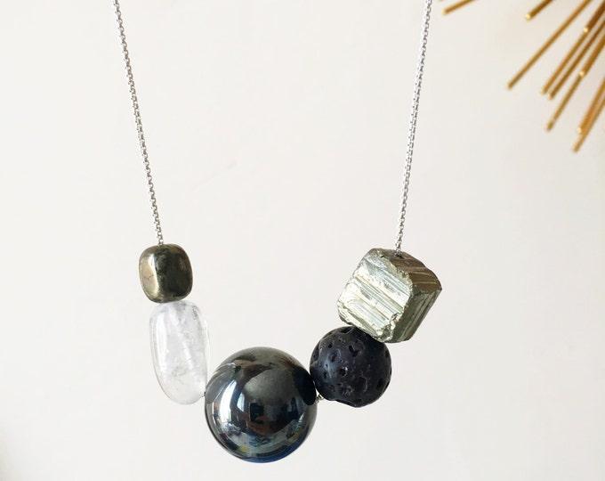 Solar Necklace - asymmetrical beaded necklace - gemstone necklace - geometric necklace - quartz - hematite - lava stone - pyrite - necklace