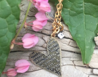 etched brass metal offset heart pendant necklace jewelry offset heart necklace Swarovski crystal necklace