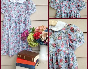 Vintage Dress - 6T - Floral Dress with Pink and Green Flowers on a Country Blue Lattice Background and Piped Peter Pan Collar