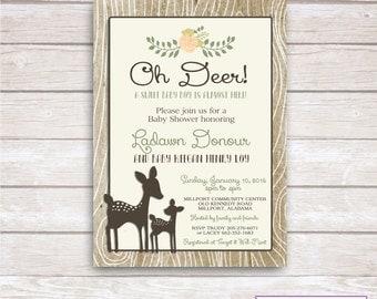 OH DEER - Baby Shower Invitation Printable