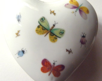 Porcelain Heart Shaped Trinket Box with Butterflies, Moths and Other Bugs Hand Painted