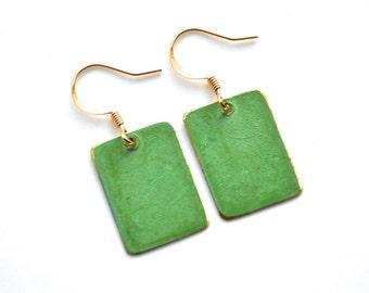 Green Patina and Gold Retangle Drops . Earrings . Mara Collection