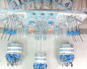 BABY BLUE And SILVER Candy Buffet Diaper Cake Centerpiece With Baby Shower  Favors / Boys Little