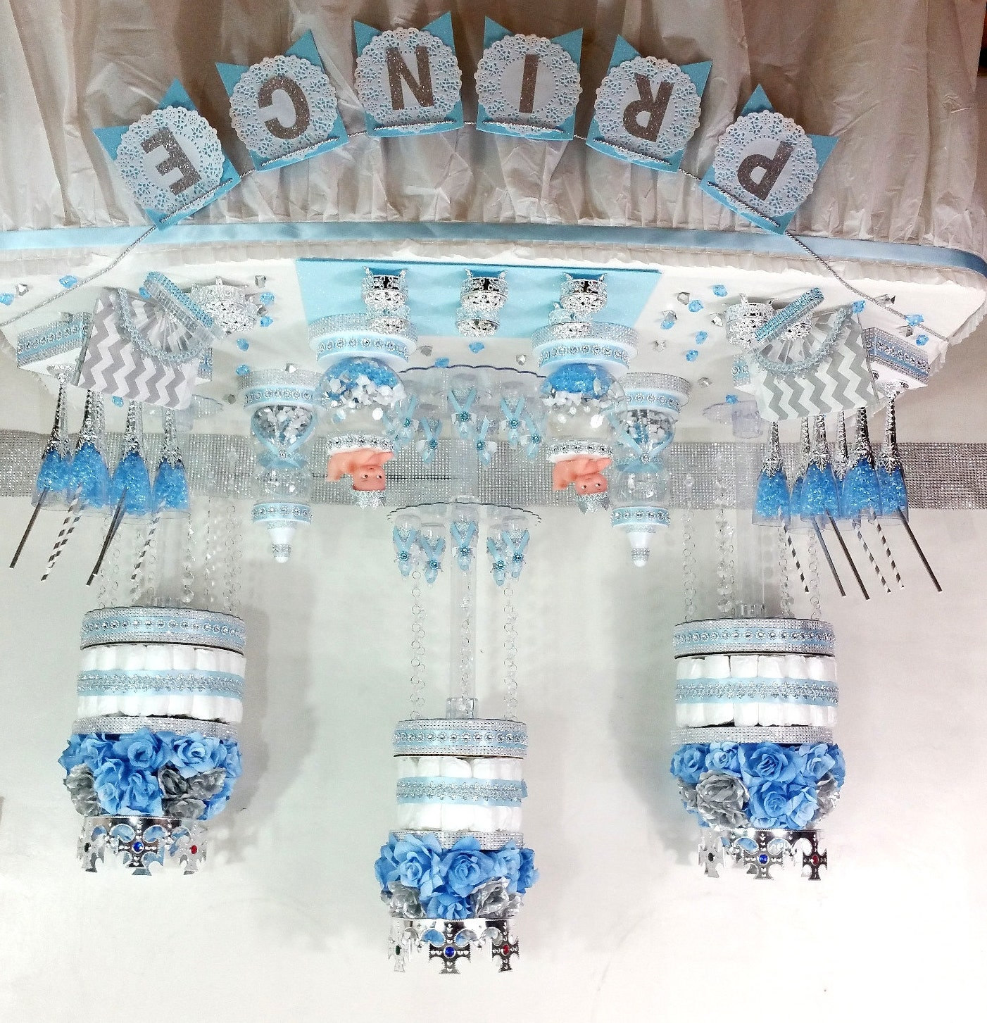 BABY BLUE and SILVER Candy Buffet Diaper Cake Centerpiece with