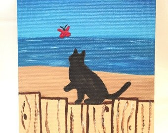 "Cat on Fence Chasing Butterfly Original Painting (4"" x 6"" Canvas Panel)"
