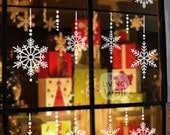 Set Snowflakes Christmas Crystal Glass Stickers Window, Wall Decal Christmas Decoration Removable