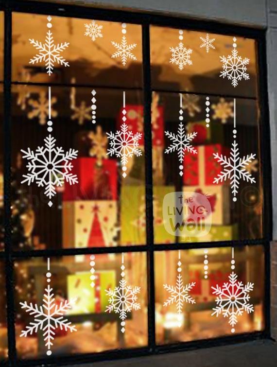 Copos de nieve vinilos decorativos de navidad adhesivos con - Decorativos para navidad ...