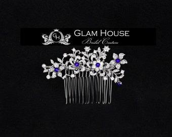 Bridal Hair Comb,flower headpiece,hair comb,flower hair comb,bridal hair comb, blue wedding,something blue,flower hair accessory