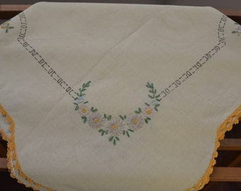 Vintage Yellow Embroidered Square Table Cloth with Crochet Edge