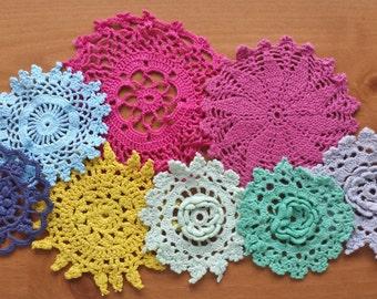 8 Hand Dyed Crochet Doilies, Hand Dyed Lace Embellishments,  Crochet Mandalas