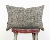 12x18 Geometric Pillow Case | Dark Grey & Natural Beige | Decorative Throw Cushion Cover | Charcoal Aztec Print | Modern Home Decor
