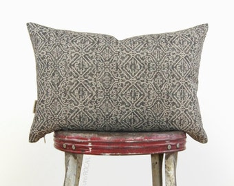 16x16 or 12x18 Geometric Pillow Case | Dark Grey & Natural Beige | Decorative Throw Cushion Cover | Charcoal Aztec Print | Modern Home Decor